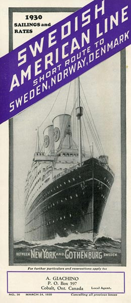 Sailing and rates 1930