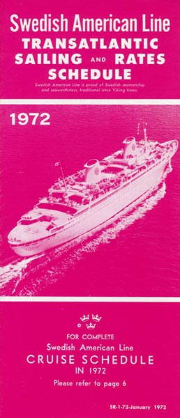 Sailing and rates schedule 1972