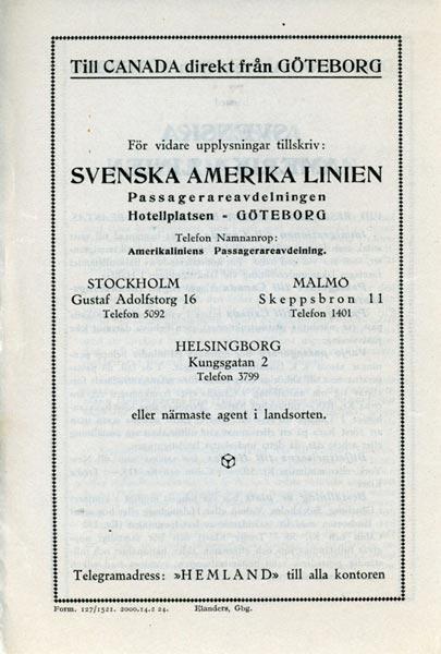Till Canada direkt från Göteborg 1924