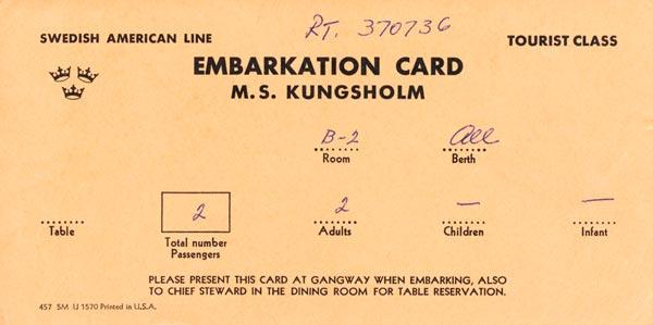 Embarkation card Kungsholm