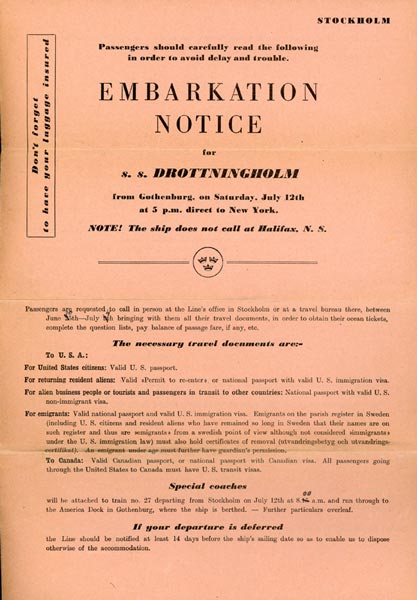 Embarkation notice 1947