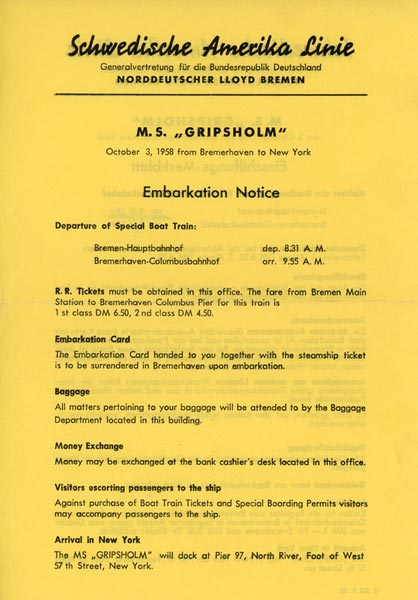 Embarkation notice 581003