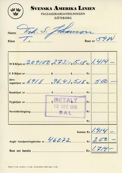 Receipt ticket 1960