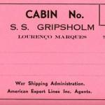 Baggage tag Gripsholm exchange voyage