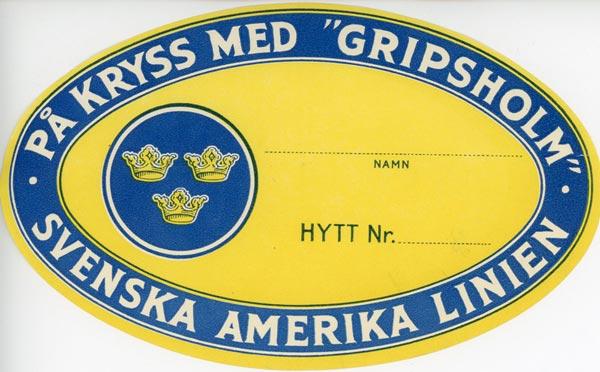 Baggage tag  På kryss med Gripsholm