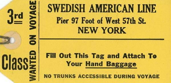 Baggage tag 3rd class
