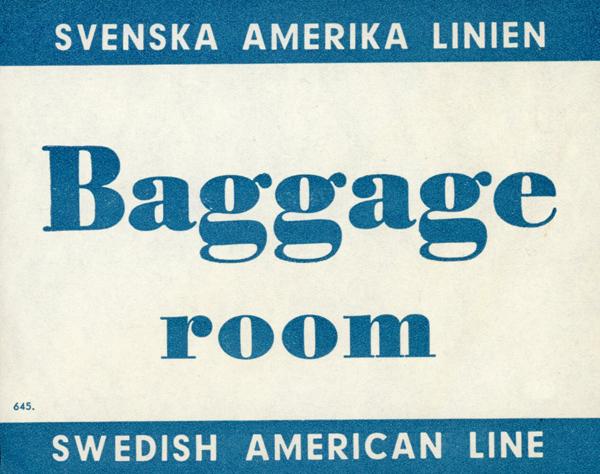 Baggage tag Baggage room