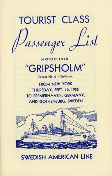 Passenger list 530910 NY-Gbg