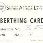 Berthing card 1957