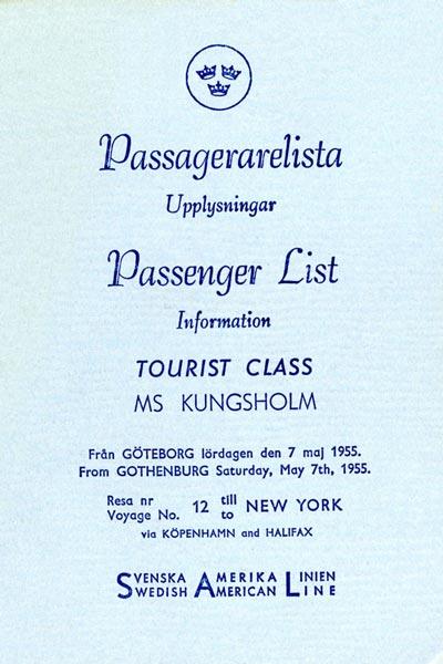 Passenger list 550507 Gbg-NY
