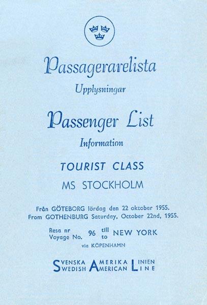 Passenger list 551022 Gbg-NY