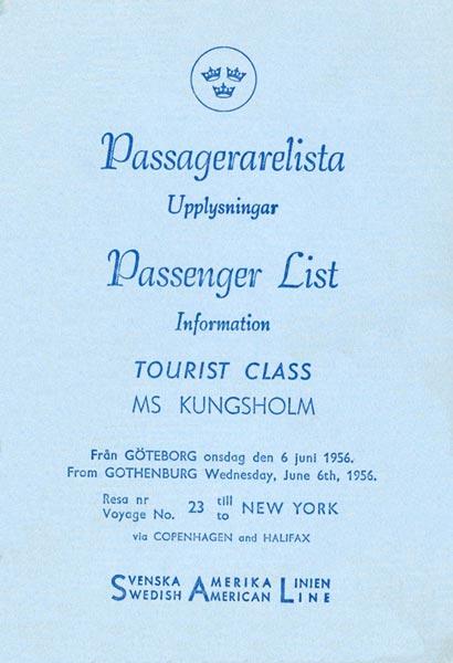 Passenger list 560606 Gbg-NY