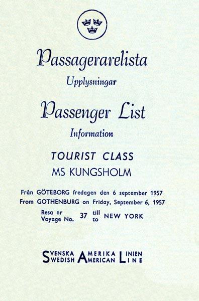 Passenger list 570906 Gbg-NY