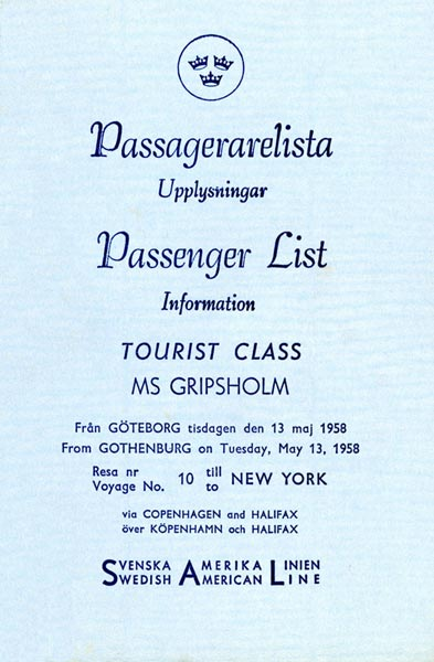 Passenger list 580513 Gbg-NY