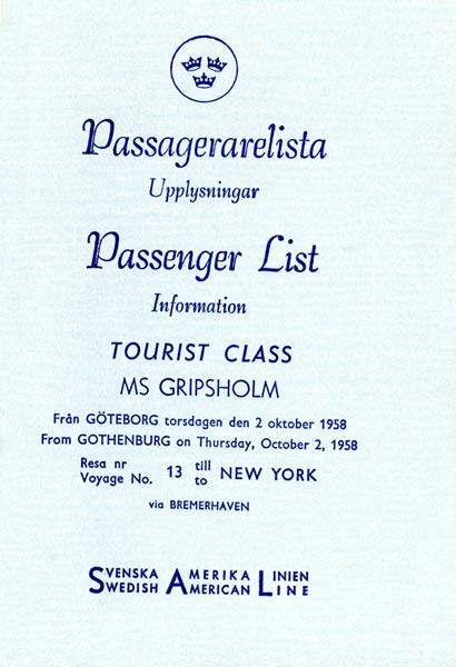 Passenger list 581002 Gbg-NY