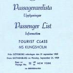 Passenger list 590921 Gbg-NY