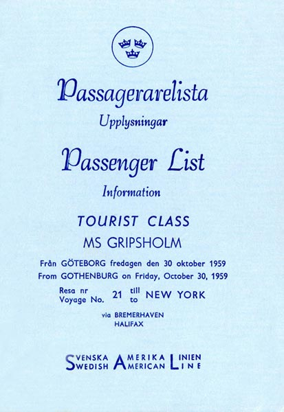 Passenger list 591030 Gbg-NY