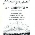 Passenger list 610502 NY-Gbg