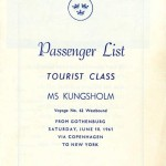 Passenger list 610610 Gbg-NY