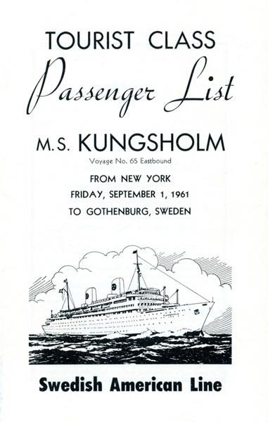 Passenger list 610901 NY-Gbg