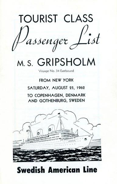Passenger list 620825 NY-Gbg