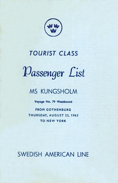 Passenger list 630822 Gbg-NY
