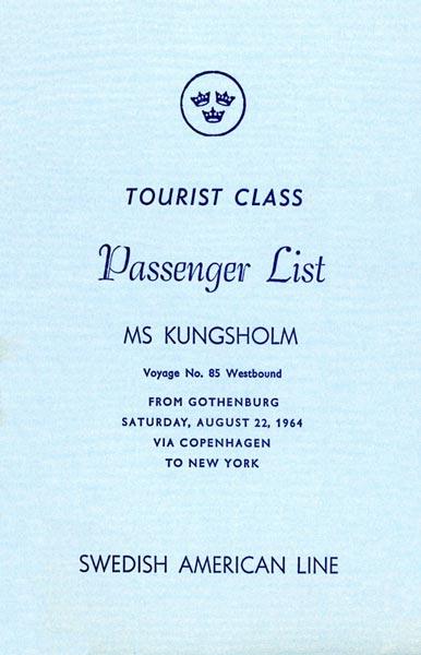 Passenger list 640822 Gbg-NY