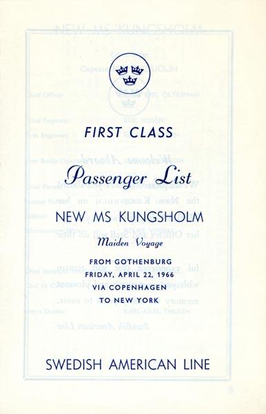 Passenger list 660422 Gbg-NY