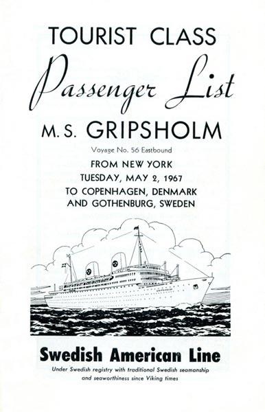 Passenger list 670502 NY-Gbg