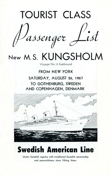 Passenger list 670826 NY-Gbg