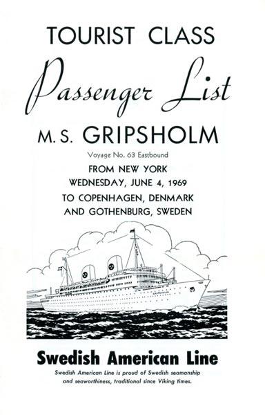 Passenger list 690604 NY-Gbg