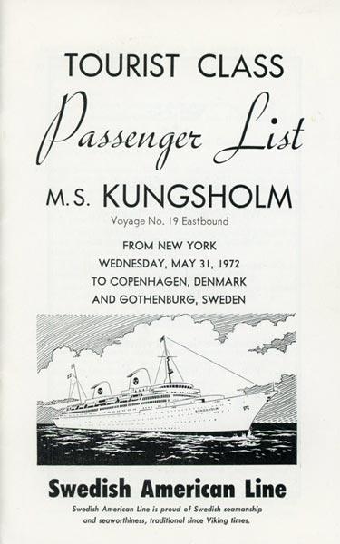 Passenger list 720531 NY-Gbg