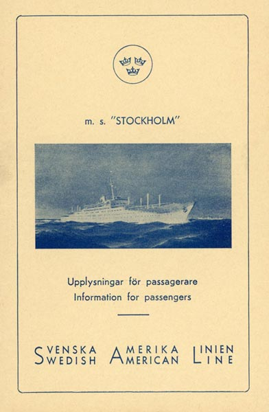 Information for passengers MS Stockholm 1952