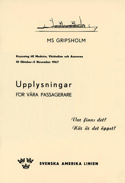 Information for passengers 1967