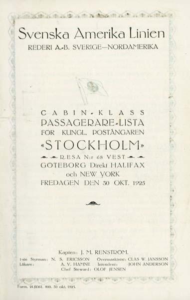 Passenger list 251030 Gbg - NY