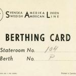 Berthing card 1952
