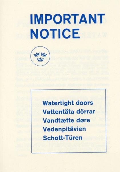 Information for passengers Watertight doors 1967
