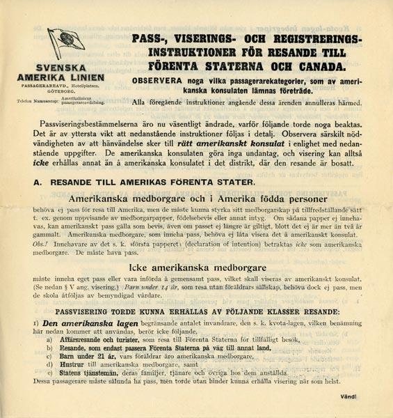 Passport and visa instructions 1924