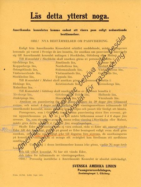 Passport and visa information 1921