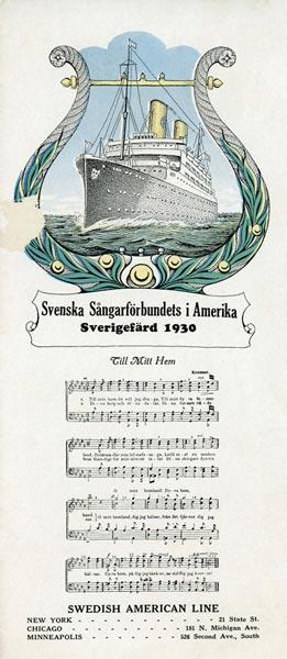 Program Svenska Sångarförbundets i Amerika Sverigefärd 1930