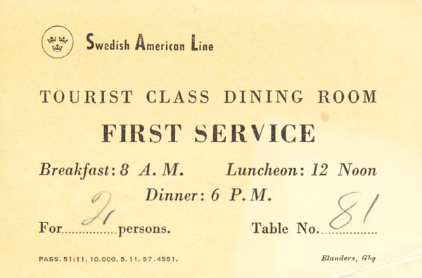 Placing card 1957 First service