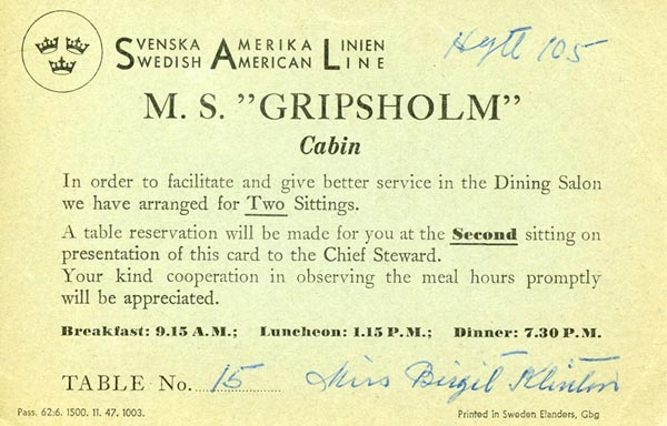 Reservation dinning hall Gripsholm 1947