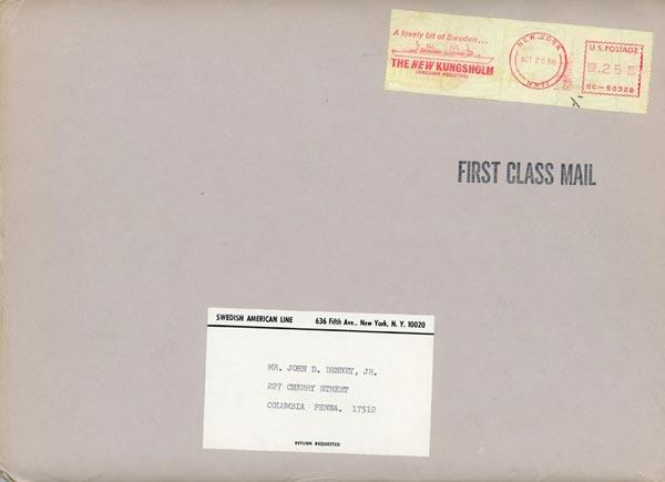Envelope for Recipe Request 1966
