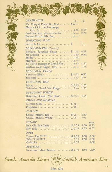 Wine and drinks list february 1953