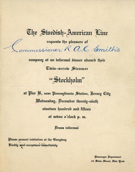 Invitation dinner 1915